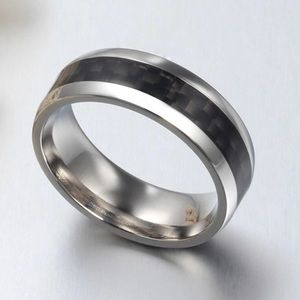 Other - Carbon Fiber Striped Stainless Steel Mens Ring